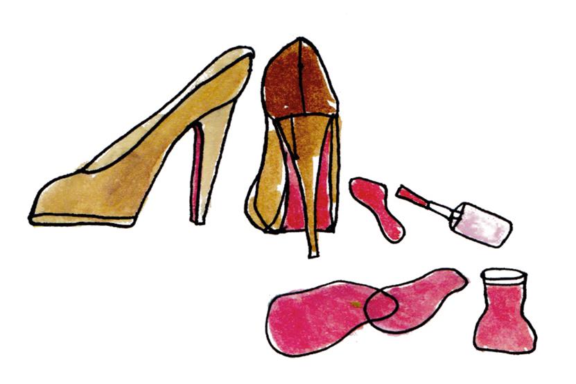 Illustration-schuhsohle-mit-rotem-nagellack-lackieren