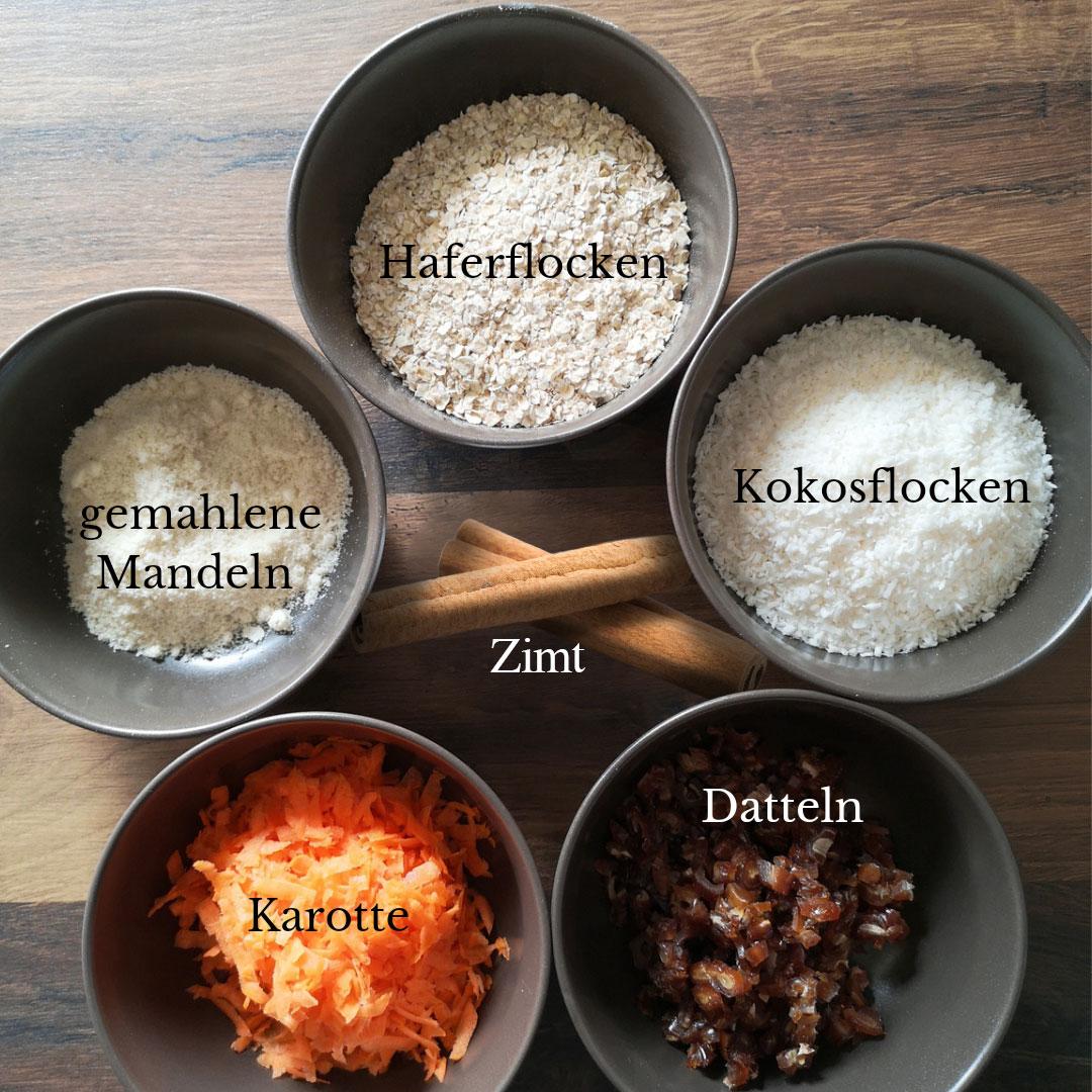 Zutaten für Karotten Energiebaelle